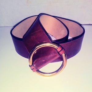 St John Wide Womens Belt Brown Italian Leather USA